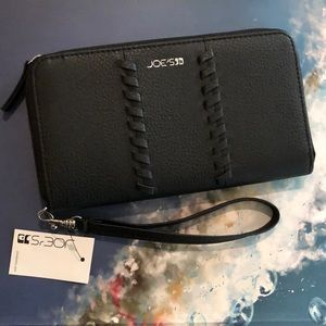 Joe's Stitch Black Zip Around Wallet/New